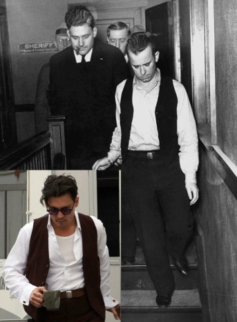 Although Depp's photo is a behind-the-scenes shot of him, it best shows how closely his wardrobe was matched with that of the real Dillinger.