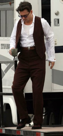 Johnny Depp behind the scenes as John Dillinger in Public Enemies.