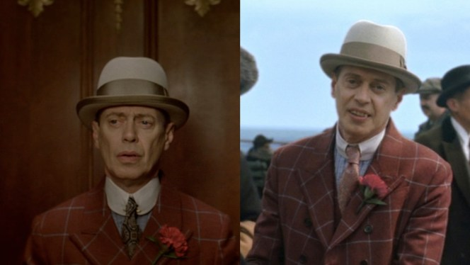 No matter what the situation is, Nucky is always sure to complete his red ensemble with a tan homburg and a red lapel flower.