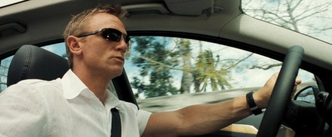 We don't see much of Bond's watch in these scenes, but at least we know he wears a seat belt. Safety first.