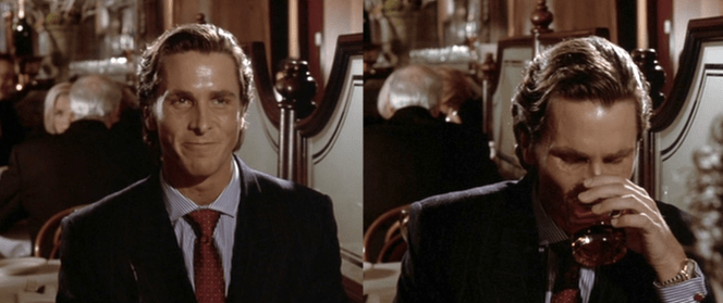The nice thing about the protective raincoat is that it allows Bateman to wear the exact same suit and tie when meeting the investigating detective for lunch!