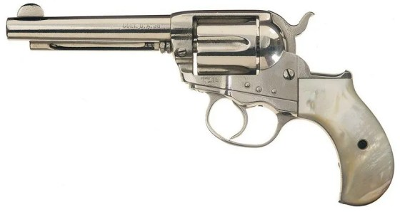 This Colt Lightning, courtesy of IMFDB, is nickel-plated and is very similar to the one carried by Kilmer in Tombstone.