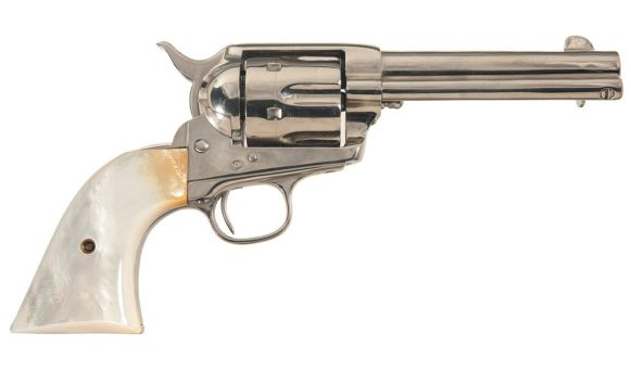 A nickel Colt Single Action Army revolver with pearl grips. Like the model carried by Doc in the film, this is the Quickdraw model with the 4