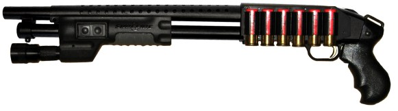 This is the same type of shotgun, Mossberg 500 Cruiser, but this one is modded out much differently with the fore-end light, the shell holder on the left side, and the lack of a foregrip.