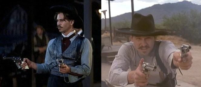 Many times throughout Tombstone, the mere sight of Doc's guns drawn is enough to stop a potential assailant (left). However, there were still times when he actually needed to use them, and he didn't hesitate, using both revolvers to great effect during the film's depiction of the gunfight at the O.K. Corral (right).