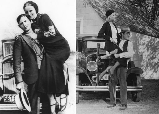 Dunaway and Beatty re-enact one of the couple's poses.