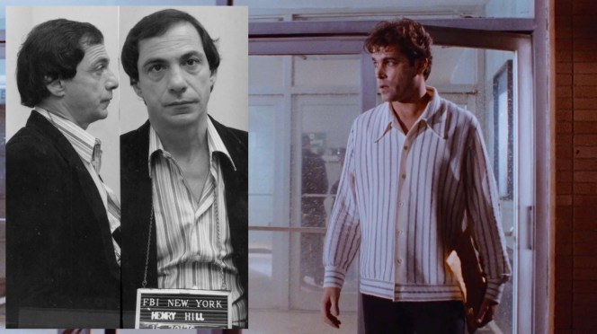 The real Henry Hill's 1980 mugshot vs. Ray Liotta in the striped shirt worn for Henry's on-screen arrest.