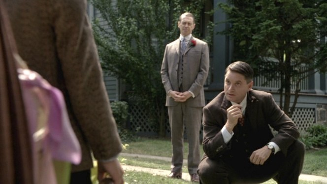Nucky and Eli have different opinions on what constitutes a brown suit.
