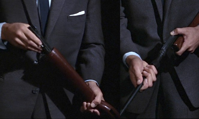 Bond assembles the rifle.