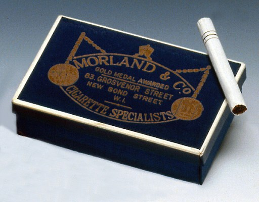 Bond's specially-ordered Morland cigarettes with the three gold bands to signify his rank.
