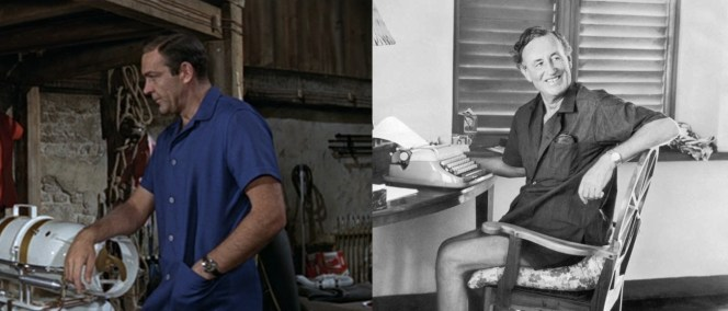 Sean Connery sports a Flemingesque blue casual shirt while in the Bahamas for Thunderball.