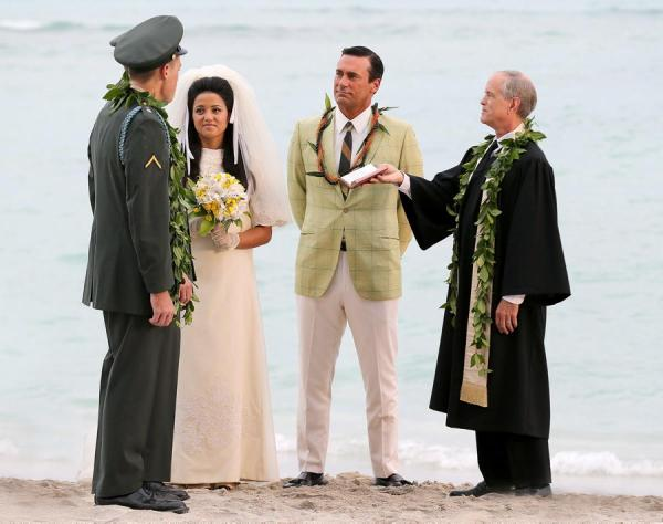 You'd expect Don Draper to get lei'd during a wedding ceremony, wouldn't you?