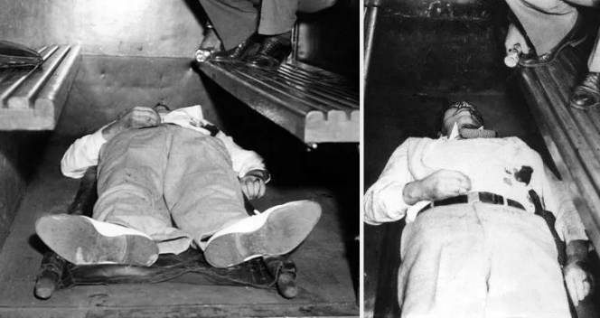 The real Dillinger, dead in the Chicago police wagon.