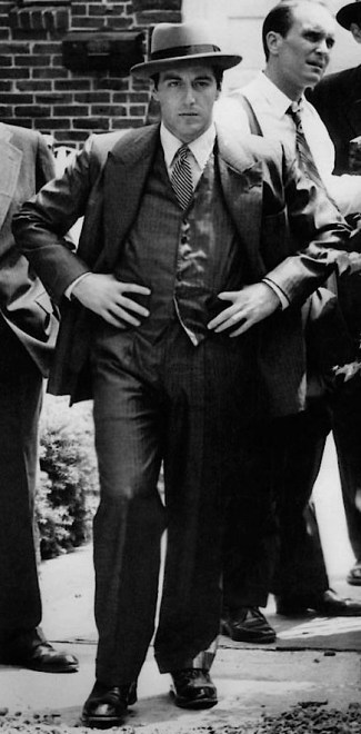 Al Pacino on set as Michael Corleone in The Godfather (1972).