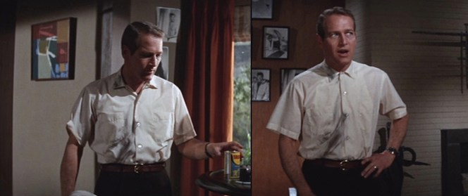 Anyone but Paul Newman would probably look like a total Poindexter in this scene.
