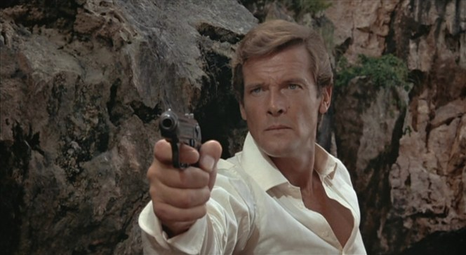 An American hero in the '70s would have sprouted a forest of chest hair under a shirt so open. Thank you for your English grooming habits, Roger Moore.
