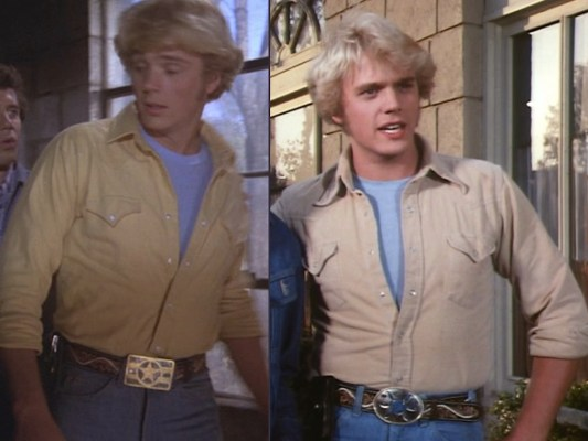 "Bo switched his belt buckle when the show's production moved to California. The star buckle is seen here in ""Repo Men"" (Episode 1.04) and the oval is from ""Route 7-11"" (Episode 1.12)"