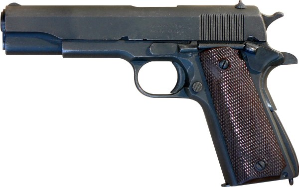 A .45-caliber M1911A1 pistol, as used by the U.S. military for nearly sixty years.