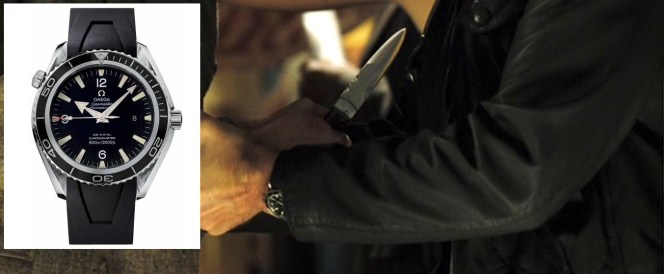 Bond's Omega is best seen in this sequence as he grapples with Dimitrios' knife to save his life. (Rhyme.)