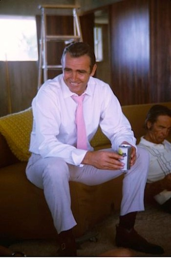 Connery enjoys a refreshing Gatorade between takes.