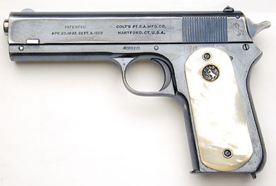 An original Colt Model 1903 Pocket Hammer with pearl grips, found on ColtAutos.com.