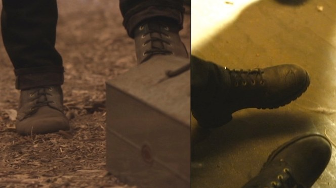 """Boyd's boots, as seen in """"Truth and Consequences"""" (left) and """"Kin"""" (right)."""