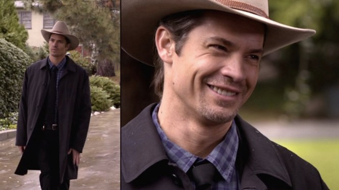"""Raylan's topcoat makes one of its few appearances with a suit, seen here in """"Fixer"""" (Episode 1.03)."""