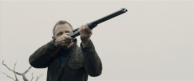 Bond takes aim with his father's Anderson Wheeler Double Rifle.