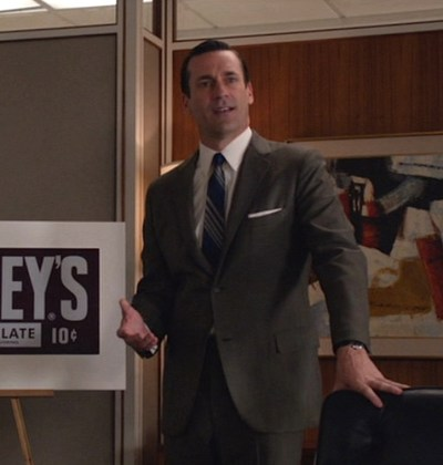 "Jon Hamm as Don Draper, presenting a pitch to Hershey executives in ""In Care Of"" (Episode 6.13) on Mad Men."