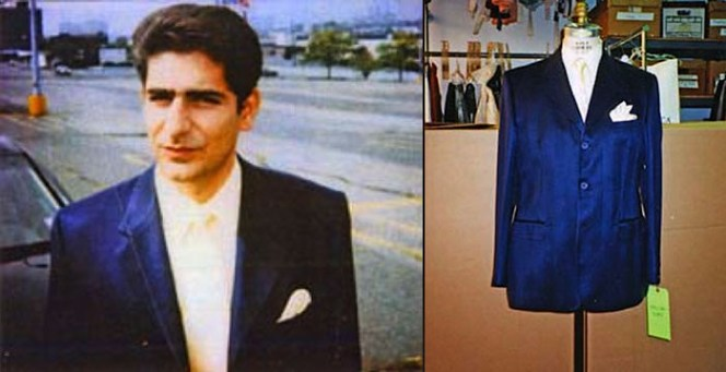 """Chris's suit jacket, shirt, and tie as well as a """"continuity photo"""" taken on set of Imperioli, all sourced from the Museum of Television."""