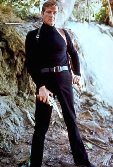 Roger Moore as James Bond in Live and Let Die (1973).