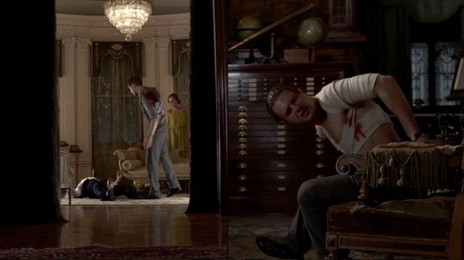 """Some intra-family fisticuffs in """"Under God's Power She Flourishes"""" (Episode 2.11) lead to Jimmy drawing that knife he so handily keeps strapped to his ankle."""