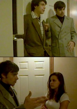 """Screenshots from Red Light District (2005), my 10th grade exploration of the sex-and-drugs culture that permeated the '70s. I'm the one in the gray striped double-breasted suit with the distinctive """"split lapel""""."""