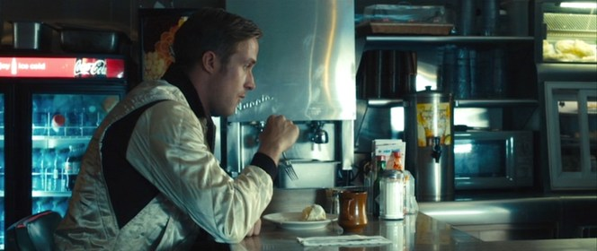Like so many great noir anti-heroes before him, The Driver takes in a lonely dinner at a greasy L.A. diner.