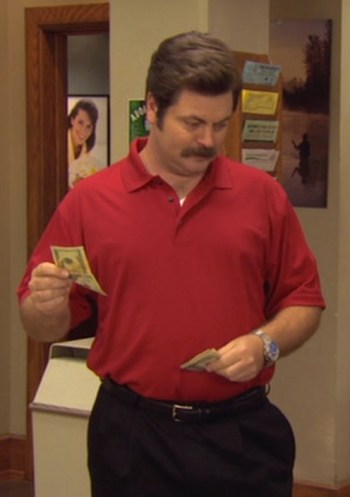"Nick Offerman as Ron Swanson on Parks and Recreation (Episode 2.08: ""Ron and Tammy"")"