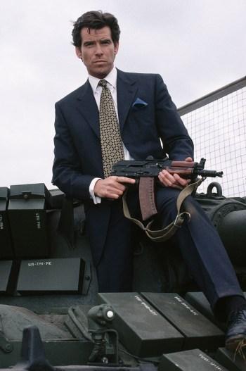 Pierce Brosnan as James Bond, armed with an AKS-74U, in GoldenEye (1995)