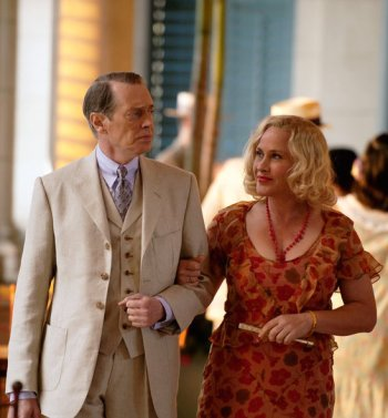 """Steve Buscemi and Patricia Arquette as Enoch """"Nucky"""" Thompson and Sally Wheet on Boardwalk Empire."""