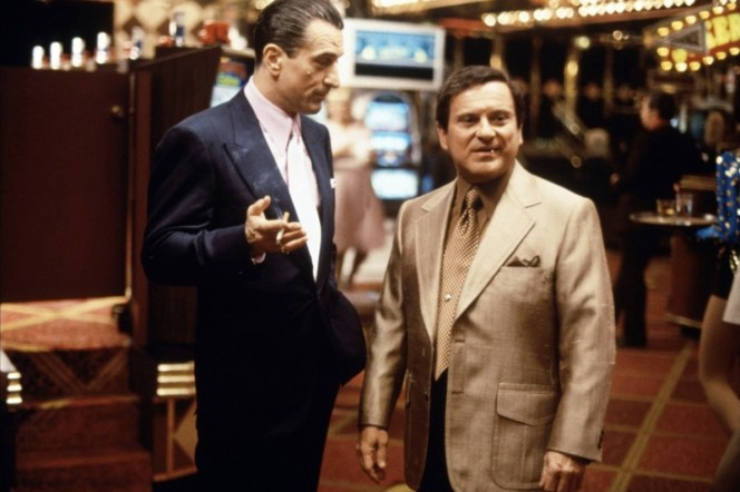 Although it incorporates many elements of '70s design, Ace's suit remains relatively timeless while Nicky Santoro (Joe Pesci) looks like a gaudy time capsule with his flashy silk earth tones and bold details like the excessive lapels and inverted box-pleat pockets.