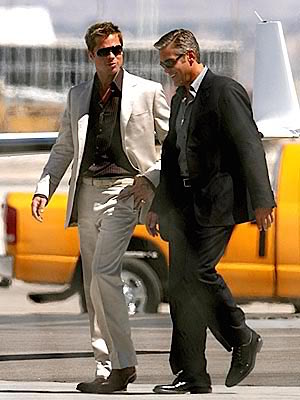 Brad Pitt and George Clooney on the set of Ocean's Thirteen (2007)