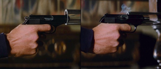 Note that Bond's PPK suffers a stovepipe jam after shooting Stromberg through his table tube.