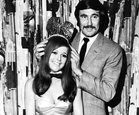 """George Lazenby crowns Diana Turner as 1969's """"Bunny of the Year"""". Congratulations, Diana."""