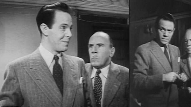 Louis Hayward as Philip Lombard in 1945's And Then There Were None, co-starring an indignant-looking Roland Young as Blore.