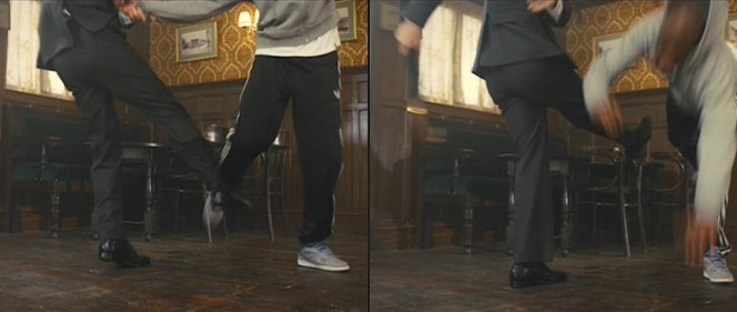 As a double-breasted suit jacket is meant to be worn buttoned at all times, the only way to get extra looks at the trouser details are when its wearer is engaged in an activity similar to wiping the floor with unmannered hoodlums.