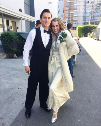 Matt Bomer and co-star Dominique McElligott on set of The Last Tycoon. (Source: Janie Bryant's Instagram.)