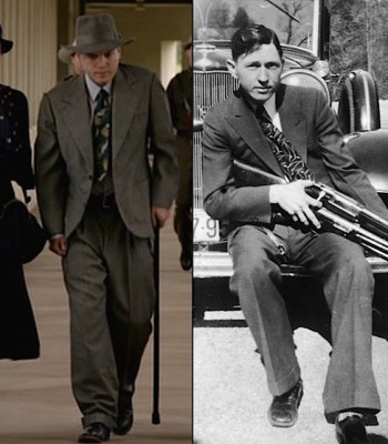 Left: Emile Hirsch as Clyde in 2013. Right: The real Clyde Barrow, circa spring 1933, wearing a similar suit that likely provided the inspiration for Hirsch's baggy duds.