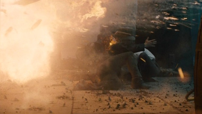 Holmes and Irene take a tumble.