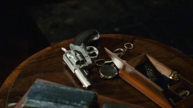 Holmes conspicuously leaves his Webley for Watson to discover.