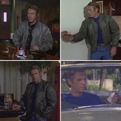 Clockwise, from upper left: Thorson enjoys Budweiser, Cutty Sark, an unidentified booze, and Jack Daniel's over the course of The Hunter.