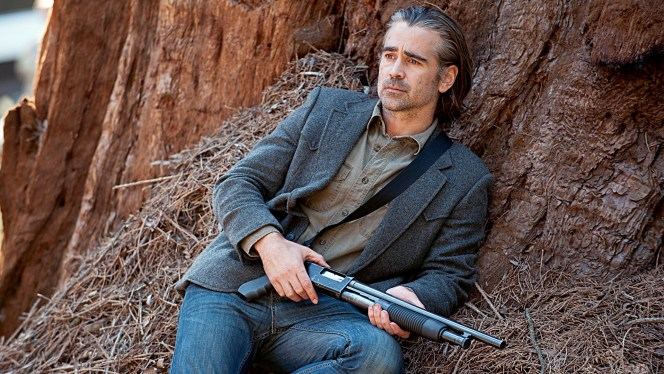 Promotional photo of Colin Farrell as Ray Velcoro, armed with a shotgun for his last stand, in the final moments of True Detective's second season.