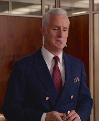 """John Slattery as Roger Sterling on Mad Men. (Episode 7.04: """"The Monolith"""")"""